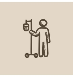 Patient with intravenous dropper sketch icon vector