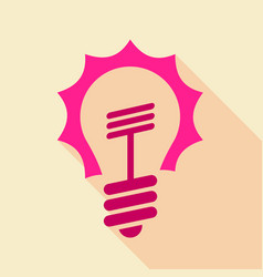 pink light bulb icon flat style vector image vector image
