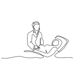 Pregnant woman visiting doctor vector