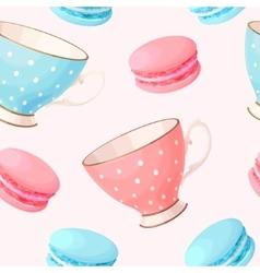 Seamless teacups and macarons vector