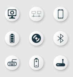 Set of 9 computer hardware icons includes battery vector