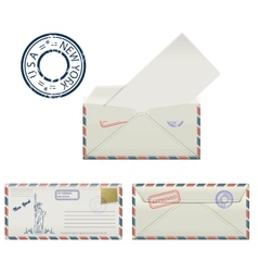 Set of envelopes from New York with a painted vector image