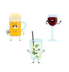 set of funny characters from strong drinks vector image vector image