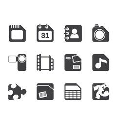 Silhouette Mobile Phone and Internet Icons vector image