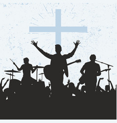 Silhouette of the worship group of god vector
