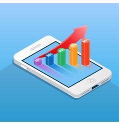 Smartphone with financial bar chart business and vector