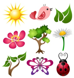 Spring symbol set vector