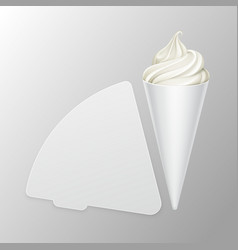 Vwhite soft ice cream waffle cone in carton foil vector