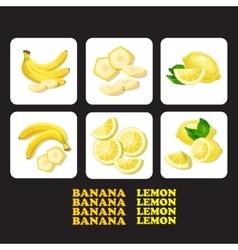 with ripe banana lemon and vector image