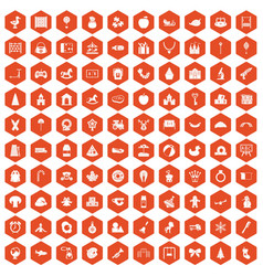 100 nursery school icons hexagon orange vector