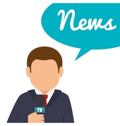 Character reporter news bubble speak graphic vector