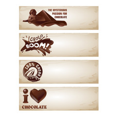 set of chocolate banners vector image