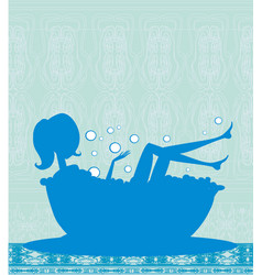 Girl relaxes in the bath vector