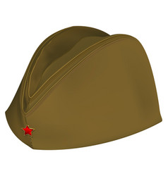 Brown russian retro soldiers cap with red star vector