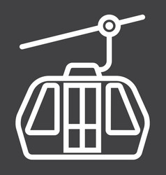 Funicular line icon travel and tourism vector
