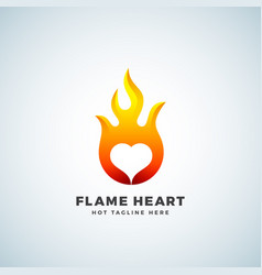 Flame heart abstract sign symbol or logo vector