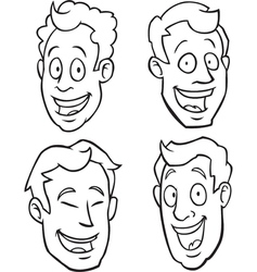 Black and white male cartoon faces vector