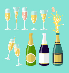 Several champagne flat vector