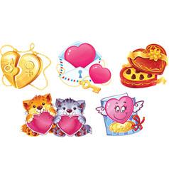 Romantic symbols for valentine day vector