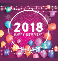 happy new year 2018 greeting card with flying vector image