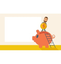 Big piggy bank with ladder vector