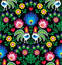 Seamless Polish folk art pattern with roosters vector image