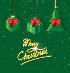 Hand written lettering of merry christmas vintage vector