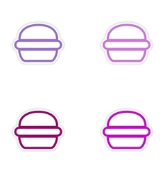 Set of stickers american burger on white vector