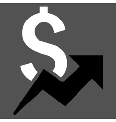 Dollar growth flat icon vector