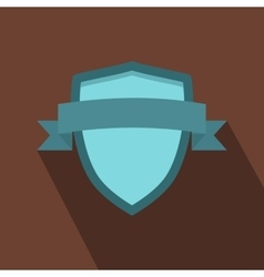 Blue shield with ribbon icon flat style vector