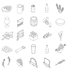 Beer set icons vector image