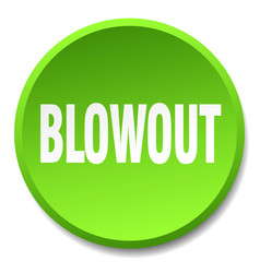 Blowout green round flat isolated push button vector