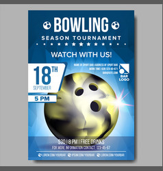 bowling poster banner advertising sport vector image