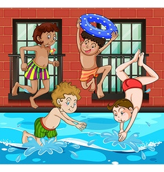 Boys diving and swimming in the pool vector image vector image
