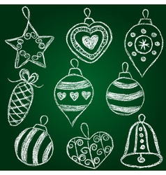 Christmas decorations - chalk on schoolboard vector image vector image