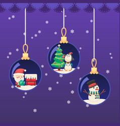 christmas new year ball santa claus with gift on vector image vector image