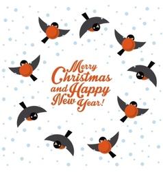 Christmas round dance bullfinches vector image
