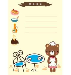Cute menu cafe cartoon vector