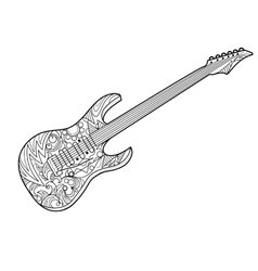Electric guitar coloring book for adults vector