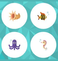 Flat icon sea set of seafood hippocampus vector