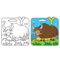 Funny wild yak coloring book alphabet y vector