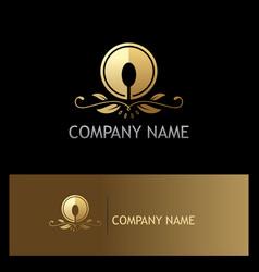 golden luxury food spoon logo vector image vector image