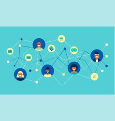 Internet social network group concept flat design vector
