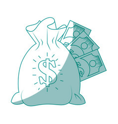 isolated bills money bag vector image