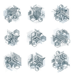 isometric abstract backgrounds with lines and vector image vector image