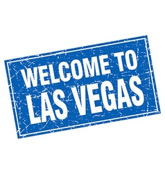 Las vegas blue square grunge welcome to stamp vector