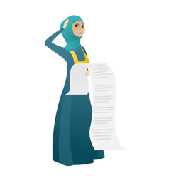 Muslim accountant holding a long bill vector