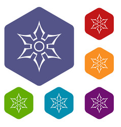 ninja shuriken star weapon icons set hexagon vector image vector image