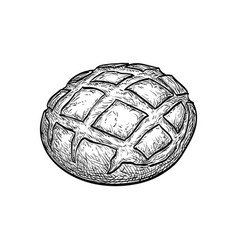 Rustic bread sketch vector