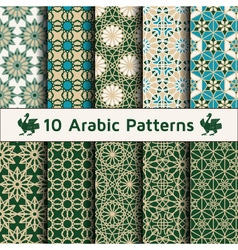 Set of arabic seamless patterns vector image vector image